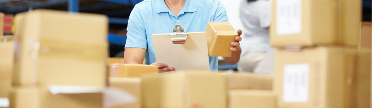 person counting parcels