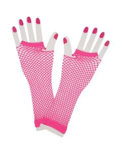 Wicked Costumes Neon Pink 80's Net Gloves Long