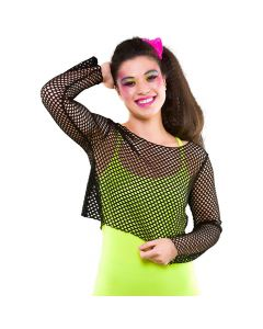 Wicked Costumes 80's Black Long Sleeved Fishnet Top