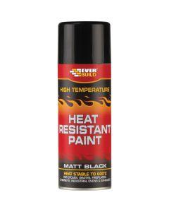 Everbuild Heat Resistant Paint Aerosol Black 400ml