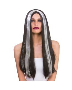 Wicked Costumes Black With Silver Streak Classic Long Wig