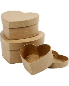 Creative Company Paper Mache Heart Boxes 3pk