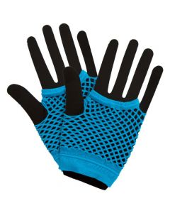 Wicked Costumes Blue 80's Net Gloves Short