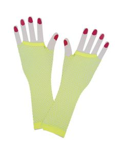 Wicked Costumes Neon Yellow 80's Net Gloves Long
