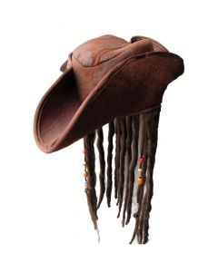 Wicked Costumes Caribbean Pirate Hat With Braids & Beads