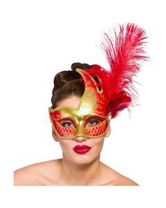 Wicked Costumes Gold & Red Revello Eyemask