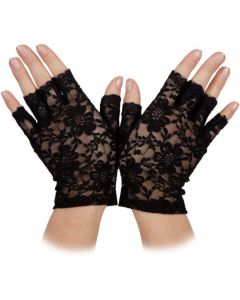 Wicked Costumes Black Ladies Short Lace Gloves