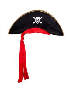 Wicked Costumes Black With Gold Trim Pirate Hat & Red Bandana