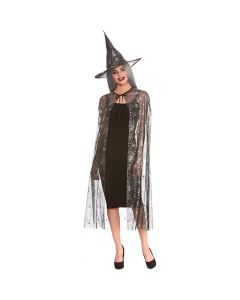 Wicked Costumes Shimmering Spider Web Witches Cape & Hat