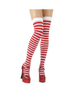 Wicked Costumes Red & White Candystripe Thigh High Stockings