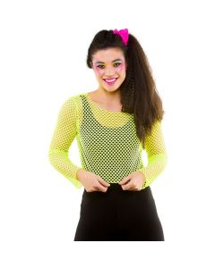 Wicked Costumes 80's Neon Yellow Long Sleeved Fishnet Top
