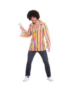 Wicked Costumes Male Rainbow Hippie Shirt