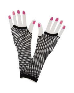 Wicked Costumes Black 80's Net Gloves Long