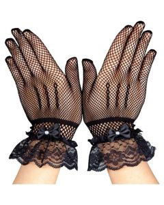 Wicked Costumes Fishnet Gloves With Lace & Diamantes