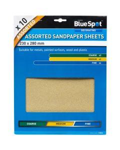 BlueSpot Assorted Sandpaper Sheets 10pk