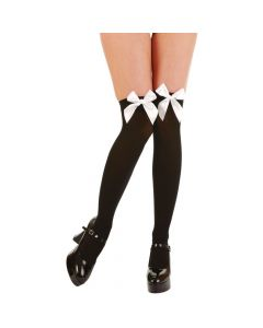 Wicked Costumes Black With White Bow Thigh High Stockings