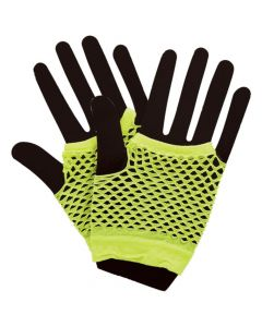 Wicked Costumes Neon Yellow 80's Net Gloves Short