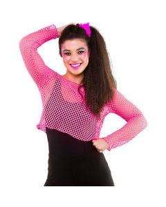 Wicked Costumes 80's Neon Pink Long Sleeved Fishnet Top