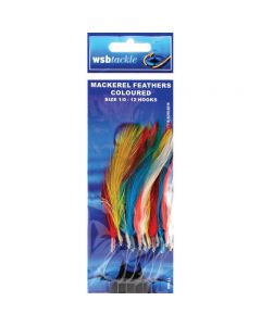 WSB Mackerel Feathers Coloured Size 1/0 12 Hook