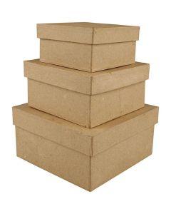 Creative Company Paper Mache Square Boxes 3pk