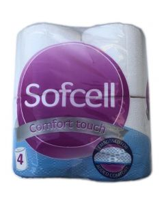 Sofcell Quilted Toilet Roll Bathroom Tissue 4pk