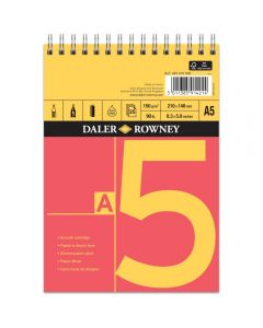 Daler Rowney Red And Yellow Spiral Cartridge Pad A5 150gsm